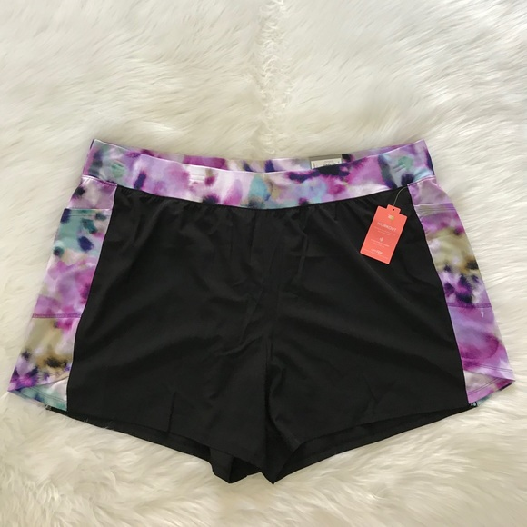 Womens TEK GEAR Shorts NEW Black Teal Athletic running sports 3X